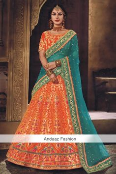 Rust Brocade Lehenga With Dupion Choli - DMV15409