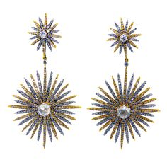 1stdibs - Two-Toned Starburst Diamond Drop Earrings explore items from 1,700  global dealers at 1stdibs.com