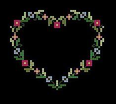 σχέδια για καρδιές κεντημένες σταυροβελονιά πηγή / source Κάνετε κλικ εδώ για να κατεβάσετε το σχέδιο (pdf). Click here to dow...