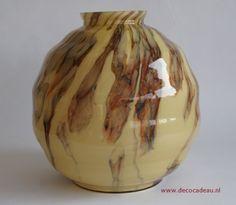 Sold *Belgium: Exclusieve grote gemarmerde Art Deco vaas. Herkomst Scailmont België Verkocht.