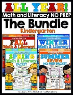 This MASSIVE All Year Math and Literacy NO PREP Bundle is a compilation of all of the SEASONAL Math and Literacy NO PREP Packets for Kindergarten! This bundle provides tons of hands-on and interactive learning for Kindergarten! Each season provides skill level appropriate learning and increases in difficult with each season.