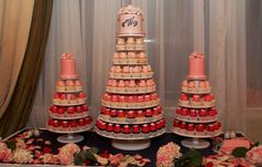 pink ombre wedding cake displays
