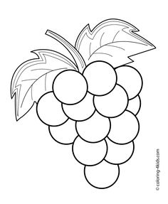 Grapes fruits and berries coloring pages for kids, printable free