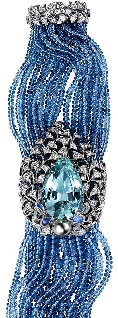 Cartier collection bracelet with aquamarine, aquamarine beads, moonstones, Tahitian pearl and diamonds (=)