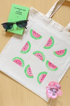 #bolsa de #tela con dibujos de #sandía