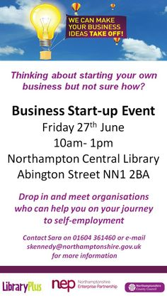 Business Start-up Event, Friday 27th June 10am-1pm at Northamptonshire Central Library.