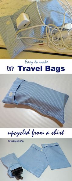 Upcycle a button down shirt and easily make a set of travel storage bags. Tutorial at Threading My Way