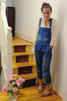 UK fashion blog Stylonylon styles Boohoo denim dungarees with lace top and Swedish Hasbeens. Original photography Leica X1 and Canon 400d