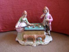 Vintage Elizabethan Age Couple Playing Billiards / Pool Figurine by Something2SingAbout on Etsy