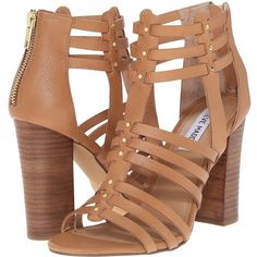 Steve Madden Sofiia (Natural Leather) Women's 1-2 inch heel Shoes ($88) ❤ liked on Polyvore featuring shoes, sandals, brown, brown leather sandals, studded gladiator sandals, block heel sandals, gladiator sandals and high heel sandals