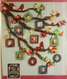 Spring Bulletin Board I made for my a Young Women's group.  Fabric background, tissue flowers and branches,  little wood frames and birds from Michael's Craft painted by my 5 year old.  Easy peasy, but still bright, fun to make, and festive.  :)