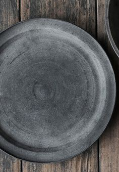 Black ceramic thrown platter