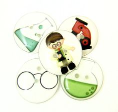 5 SMALL Scientist Handmade Buttons. 5/8 or 15 mm by buttonsbyrobin, $9.50