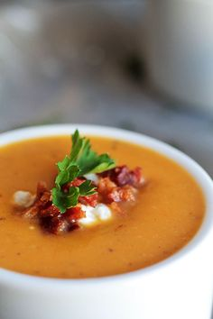 Roasted Butternut Squash Soup with Goat Cheese and Bacon