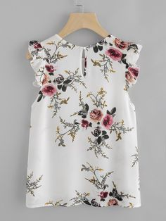 Blouse Summer Women Floral Print Butterfly Sleeve Blouse Crop Tops Chiffon Sleeveless ONeck Color Blouse Femmes Tops Et Blouses Floral Blouse, Floral Tops, Casual Outfits, Fashion Outfits, Womens Fashion, Fashion Clothes, Fall Fashion, Shell Tops, Outfit Trends