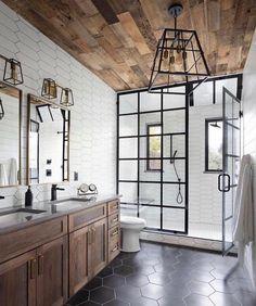 Rustic Master Bathroom, Modern Farmhouse Bathroom, Small Bathroom, White Bathrooms, Farm House Bathroom, Rustic Bathroom Shower, Luxurious Bathrooms, Master Bathrooms, Wood Bathroom
