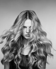 Hair Advertising GHD Beauty Long hair | Waves | messy curls | long hair | blonde | Black and white |