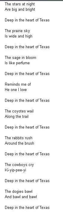 """Lyrics to """"Deep in the Heart of Texas"""" (I think this is Gene Autry's version)"""