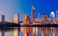 austin texas | austin, texas, twilight, skyscrapers, reflection, river