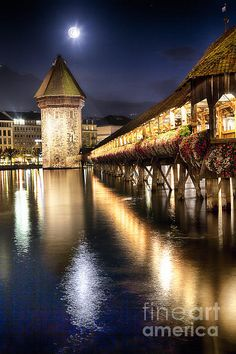 Chapel Bridge over the Reuss River, Lucerne, Switzerland; photo by George Oze