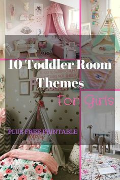 Toddler Room Themes for Girls: Do you have a little lady who you want to create an amazing room for? Well, here are some adorable ideas ! You don't have to have a princess room. You can totally get creative. I would LOVE for you to check out these ideas and show me what your girls room looks like!  http://justagirlwinginglife.com/2017/07/03/10-toddler-girl-room-themes/