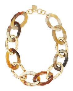 Kiungo Mixed Horn & Bronze Necklace by Ashley Pittman at Neiman Marcus.