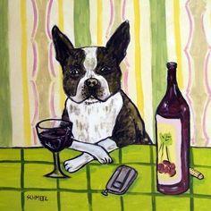 Boston Terrier - wine art.