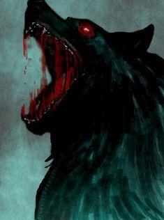 Fenrir the wolf of Norse mythology and vikings learn this - Anime Wolf Dark Fantasy Art, Dark Art, Anime Wolf, Fenrir Tattoo, Hellhound Tattoo, Beast, Art Noir, Werewolf Art, Arte Obscura
