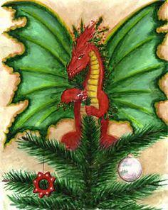Christmas-Holly Tree Dragon by Heidi Buck