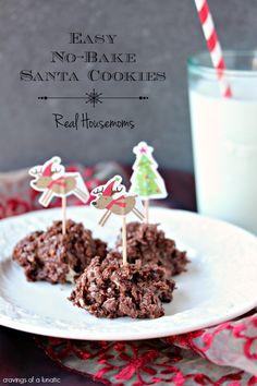 Easy No Bake Santa Cookies | Real Housemoms