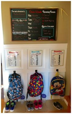 School Rules Our backpack station / command center designed by Home Sweet Signs NH. Here's to a great & organized school year!Our backpack station / command center designed by Home Sweet Signs NH. Here's to a great & organized school year! Home Organisation, Organization Hacks, Backpack Organization, Kids Backpack Storage, Organization Station, Backpack Station, Family Command Center, Command Centers, Command Center Kitchen