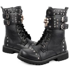 Men Black Leather Studded Skull Lace Up Steam Punk Rock Fashion Boots SKU-1280522