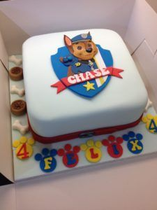 Chase Paw Patrol cake - all made from sugar paste (fondant) except the tiny…