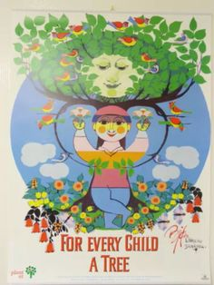 Bjorn Wiinblad poster tree for every child retro vintage modernist Retro Poster, Vintage Posters, Single Tree, Scandinavian Art, Illustrations And Posters, Trees To Plant, Flower Art, Diorama, Retro Vintage