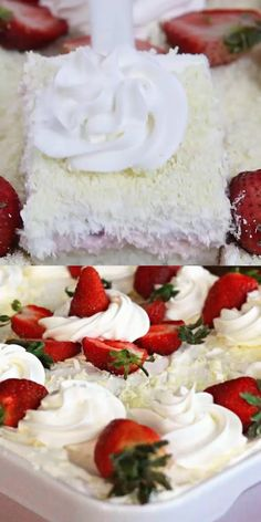 Strawberries and Cream Poke Cake VIDEO I wouldn't bother with the white chocolate - but some kind of nuts would be awesome - or crushed freeze-dried strawberries! Strawberry Poke Cakes, Strawberry Desserts, Köstliche Desserts, Summer Desserts, Delicious Desserts, Dessert Recipes, Strawberry Shortcake Birthday Cake, White Desserts, Cherry Cake