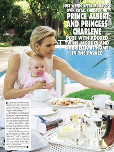 gojennifer20: Hello! magazine interview and photos with the Monaco Princely Family, May 2015-Princess Charlene with Princess Gabriella