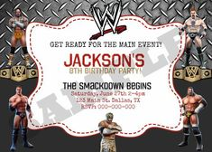 Visit the post for more. Wrestling Birthday Parties, Diva Birthday Parties, Wrestling Party, Wwe Birthday, Birthday Party Invitations, Birthday Ideas, Wwe Party, Party On Garth, Kitty Party Games