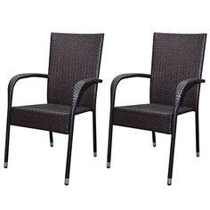 vidaXL 2x Poly Rattan Gartenmöbel Gartenstühle Esszimmerstühle Braun