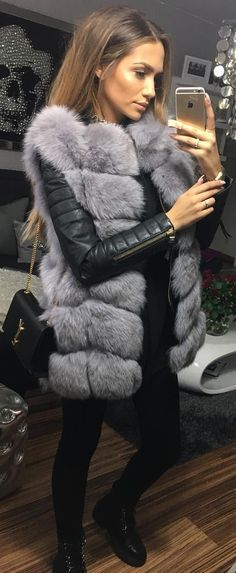 #fall #outfits Black Leather Jacket // Grey Fur Vest // Black Boots // Skinny Jeans