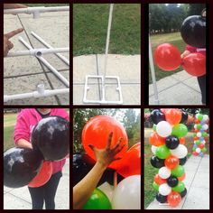 "Balloon column very simple DIY items needed 10 6"" 3/4 PVC pipe 4 L pieces 5 T pieces, 1 coupler & 2-3' pieces tie 2 sets of 2 balloons together then twist them together, bring to the pole and begin to twist the balloons over 1 another until it is secure onto the pole, push down and complete till you have done 10 rows of 4 sets of balloons"