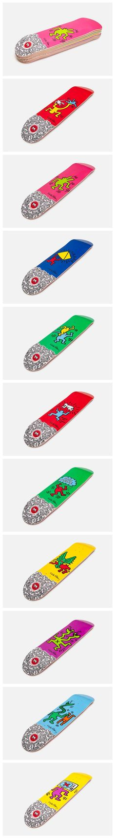 Keith Haring X Alien Workshop collaboration skate board deck collection.
