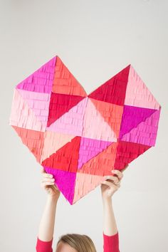 A Bright, Colorful & Fringe-Filled Geometric Heart DIY • this heart of mine