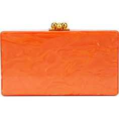 Edie Parker marbled effect clutch (8.440 DKK) ❤ liked on Polyvore featuring bags, handbags, clutches, orange, orange handbags, edie parker handbags, lucite purse, edie parker and orange purse