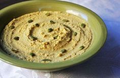 By Breast Cancer Yoga Staff. Homemade roasted pumpkin seeds beautifully accent this hummus. If you know how to make hummus this is a real easy recipe (hummus & pureed roasted pumpkin seeds). Pumpkin Hummus, Roasted Pumpkin Seeds, Vegan Pumpkin, Pumpkin Recipes, Vegan Hummus, Hummus Recipe, Raw Food Recipes, Snack Recipes, Healthy Recipes
