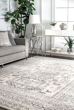 Rugs USA Gray Bosphorus Tecumseh Tribal Tale Triptych rug - Bohemian Rectangle x White Carpet, Patterned Carpet, Dry Carpet Cleaning, Rustic Rugs, Boho Living Room, Cheap Carpet Runners, Rugs Usa, Round Rugs, Contemporary Rugs