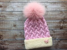 Real fur pompom hat knit winter hat large fox by BoutiqueDeHelene Pom Pom Hat, Knitted Hats, Winter Hats, Fox, Knitting, Trending Outfits, Unique Jewelry, Handmade Gifts, Clothes