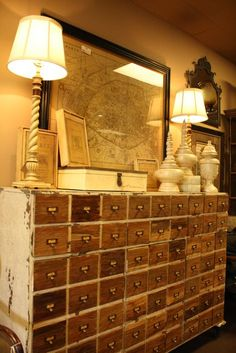 Repurposed library card catalog...