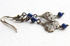 Blue Lapis Lazuly Earrings Art Nouveau Jewelry by KapKaDesign, $39.00 #artnouvea #earrings #jewelry