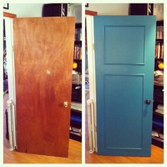 DIY Door Transformation All they did was prime it, paint it and put moulding on it to make it a panel style door