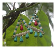 3 Colours Triangle Dangles/Earrings - turquoise - beige - red by Malatichan on Etsy